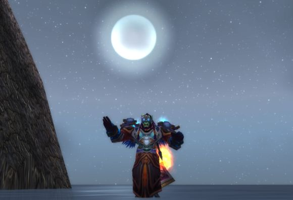 orc dancing on lake