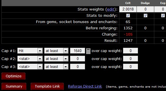 Fields where you can specify minimum stat weights to reach
