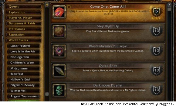 New Darkmoon Faire achievements on the patch 4.3 PTR.