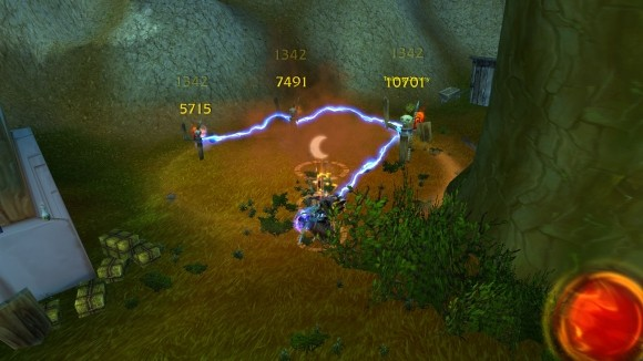 Elemental shaman casting earthquake and chain lightning