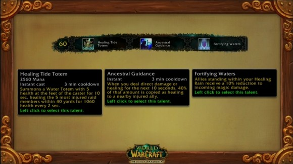 The fourth tier of shaman Mists of Pandaria talents.