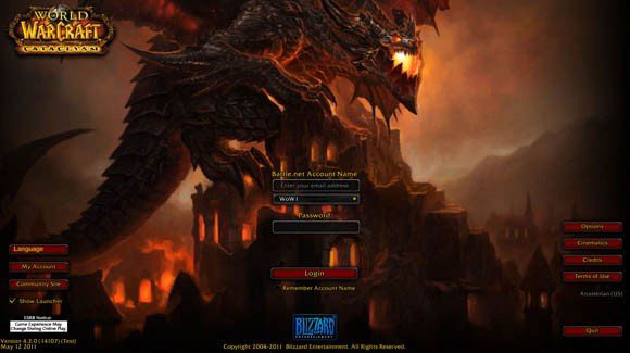 Cataclysm PTR login screen