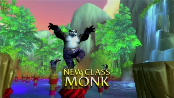 Pandaren monk posing on pole.