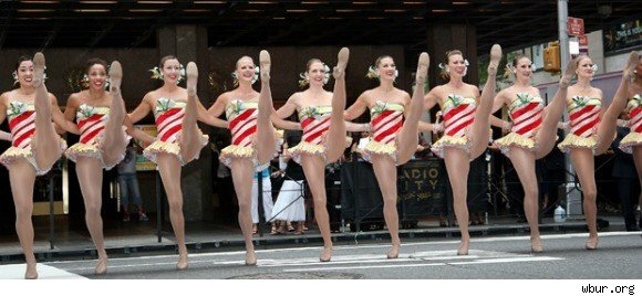 the rockettes perform a kick line