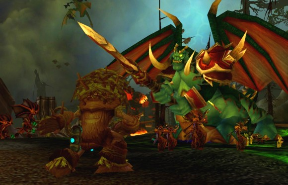Restoration druid healing during the Mannoroth encounter.