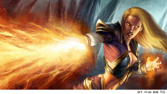Jaina Proudmoore casting a cone of fire spell from her hand.