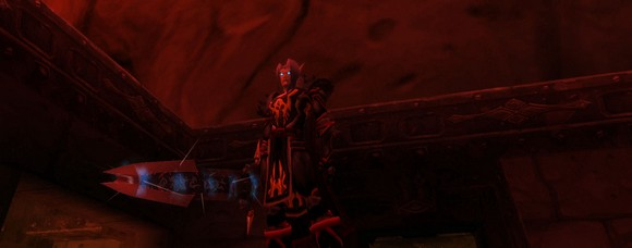 A blood elf death knight outside molten core