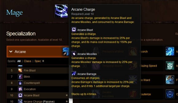 Screenshot of the mage MoP talent calculator showing Arcane Charges
