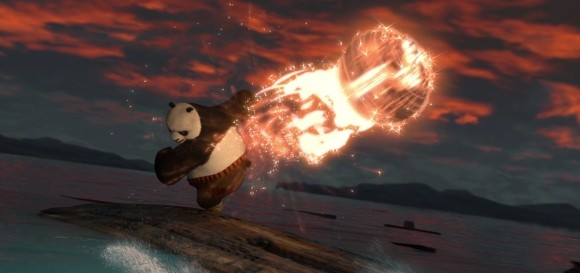 Pandaren kicking a fireball