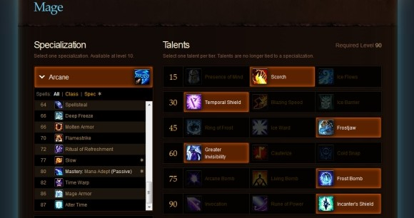 MoP talent calculator update