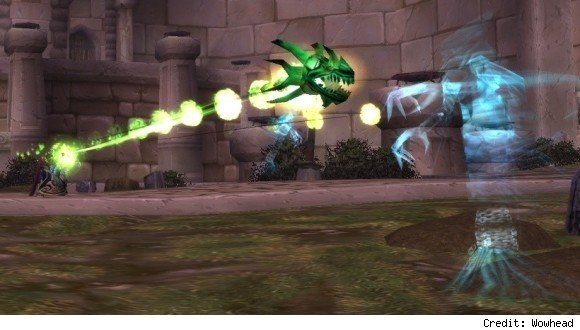 Warlock firing a Chaos Bolt at a ghost