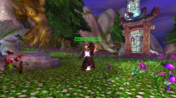 An orc mage casting blink.