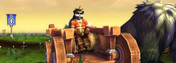 Pandaren woman in a cart