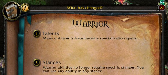warrior changes