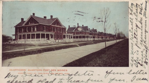 Postcard showing the officers' quarters at Fort Des Moines