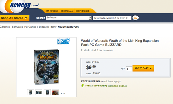 Newegg sale offers Wrath of the Lich King expansion for $999