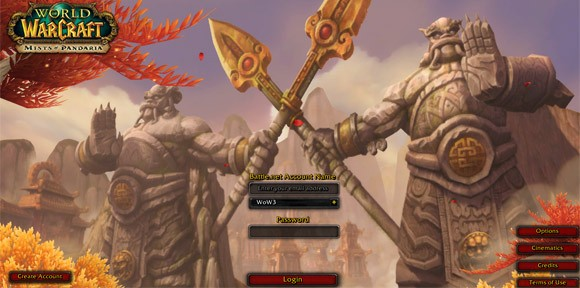 Mists of Pandaria login screen