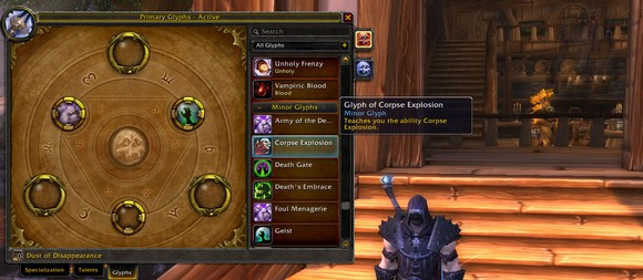 Glyphs in Patch 504 Death Knights
