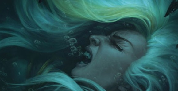 A side profile of Jaina Proudmoore's face, underwater, her eyes closed and mouth opened in a scream of agony, her blonde hair streaked with white.