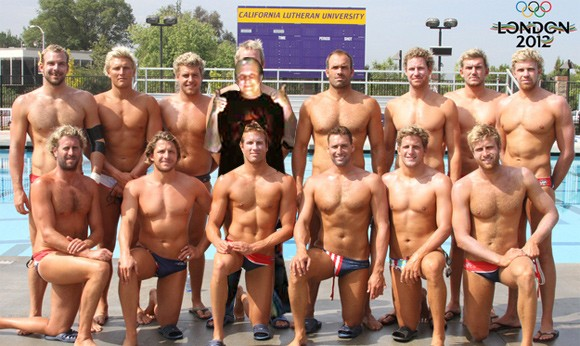 The Queue Ghostcrawler hanging out with the US Men's Water Polo Team