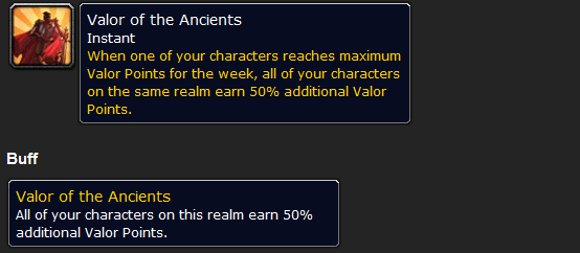 Mists of Pandaria Valor of the Ancients increases valor points for alts