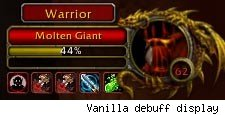 The vanilla debuff display limited to 5