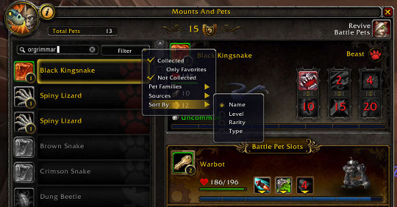 Patch 51 Pet battle UI changes
