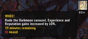 Darkmoon Carousel increases XP and Reputation gains