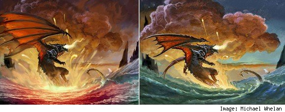 Early concepts of Michael Whelan's vision of Deathwing