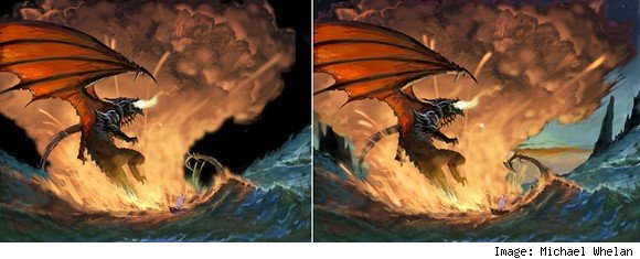 Early Michael Whelan sketches of Deathwing