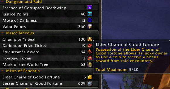 Patch 52 PTR Elder Charms of Good Fortune now stack to 20
