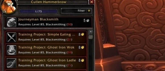 Gold Capped Leveling blacksmithing just got easier