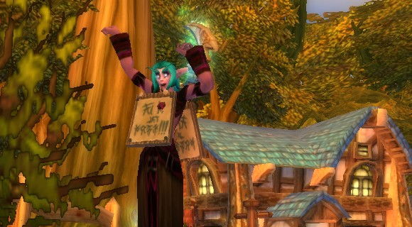 night elf with sign