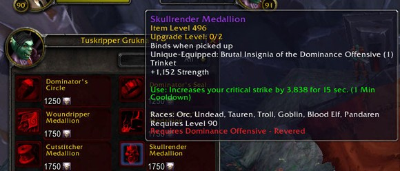 Patch 54 PTR Reputation gear cost changed to Justice Points