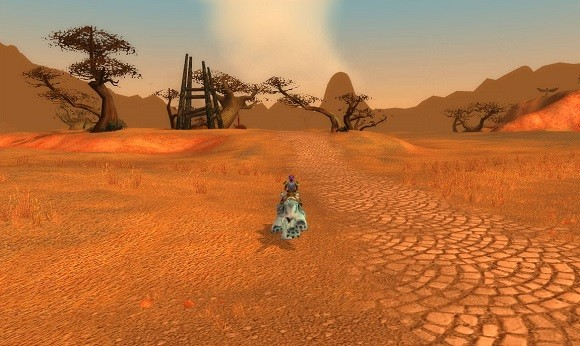 A night elf visits the Barrens