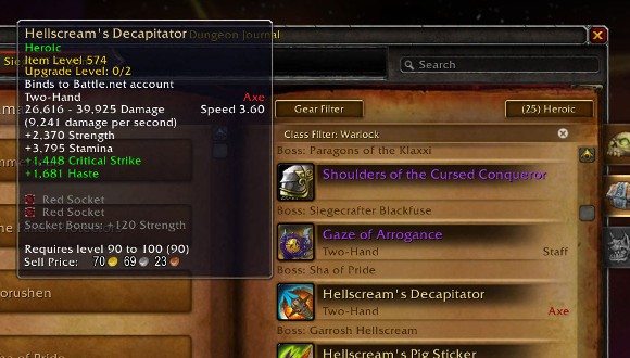 Patch 54 PTR Hellscream's weapon drops are 90100 heirlooms
