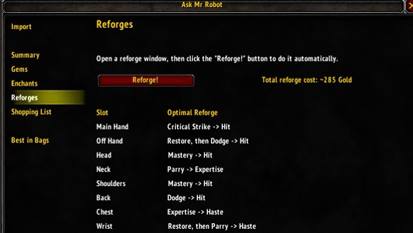 Addon Spotlight Reforging and gear optimization addons