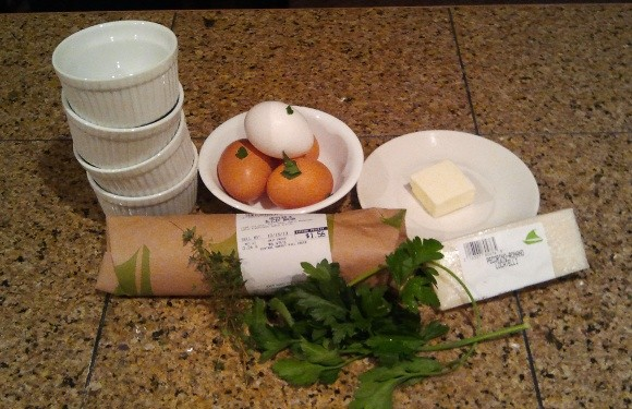 Herb baked egg ingredients