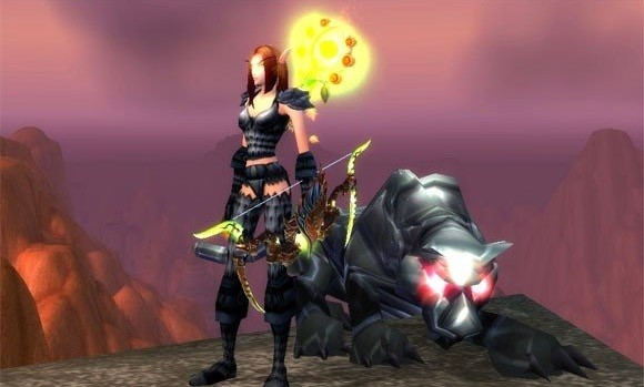 Hunter and pet with glowing eyes