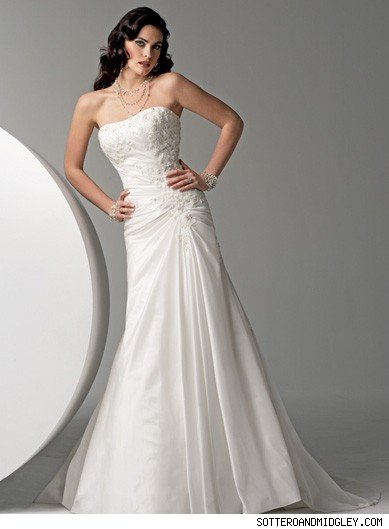 This one-piece, slim A-line gown by Sottero and Midgley has a beautifully
