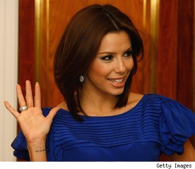 eva longoria wedding pictures. Eva Longoria#39;s wedding tattoo: