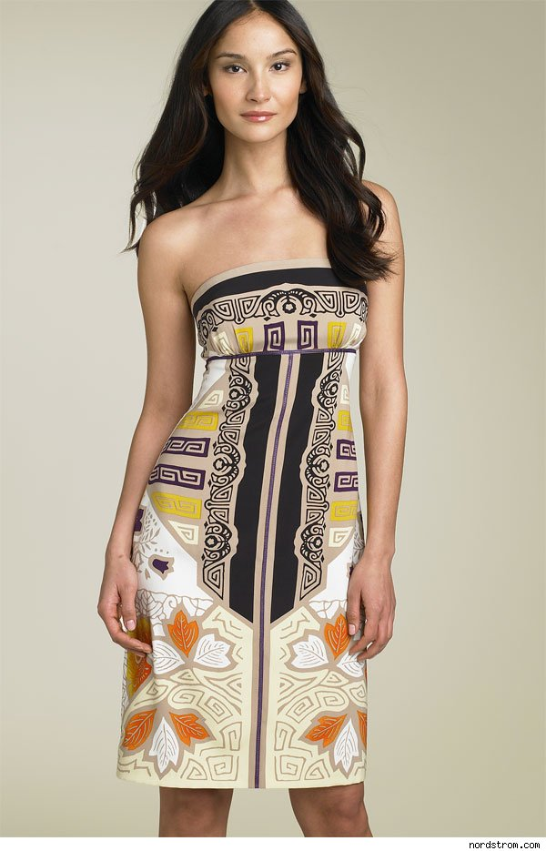 Nicole Miller Printed Strapless Dress, $320