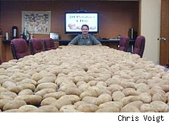 Chris Voigt in front of 1,200 potatoes