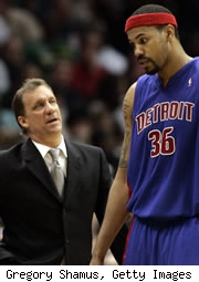 Flip Saunders and Rasheed Wallace