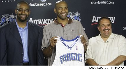 Otis Smith, Vince Carter and Stan Van Gundy