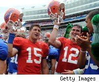 Tim Tebow, John Brantley at Florida's spring practice 2008