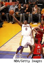 Kobe Bryant, scoring two of his 81 points in a game back in January of 2006.