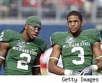 Michigan State WRs Mark Dell and B.J. Cunningham