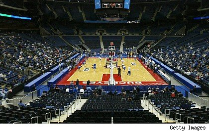 Empty college basketball arena