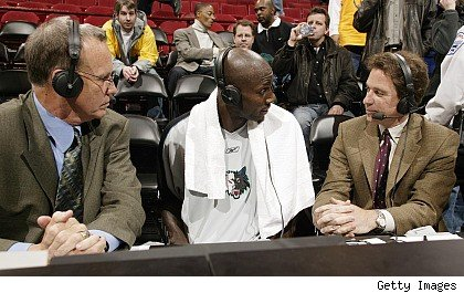 Doug Collins, Kevin Garnett and Kevin Harlan